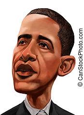 USA president barack obama caricature made in digital media