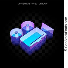 Vacation icon: 3d neon glowing Camera made of glass, EPS 10 vector.
