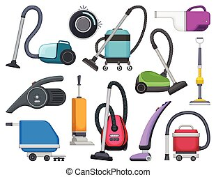 Vacuum cleaner vector cartoon icon set . Collection vector illustration device vac on white background. Isolated cartoon icon set vacuum cleaner for web design.
