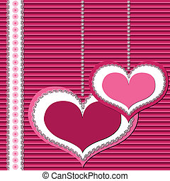 Valentine or invitation, greeting card stylized as scrapbooking art