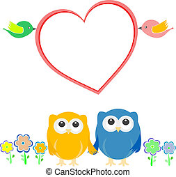 Valentine card with bird couple, owls and heart