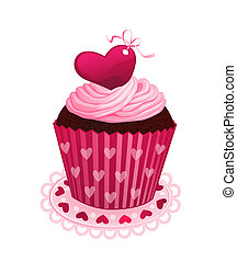Chocolate cupcake with pink cream and red sugar heart