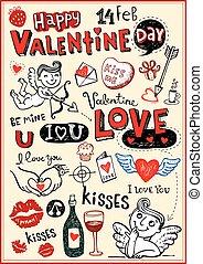 Valentine doodle set, Hand-drawn icons. Vector illustration