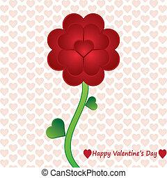 Valentine flower whit heart background.