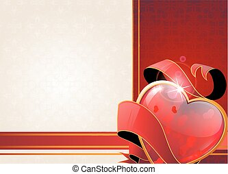 Valentine heart and ribbon