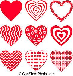 Valentine vector heart, love symbol, pattern, set pictogram