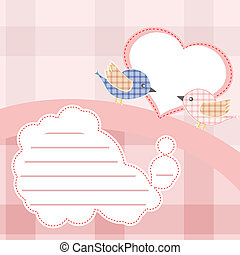 Valentine invitation card with couple bird