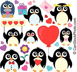 Valentine penguins theme collection 1