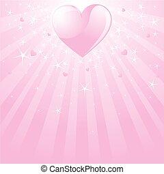 Valentine pink heart, stars and st