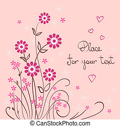 valentine vector background with flower and heart
