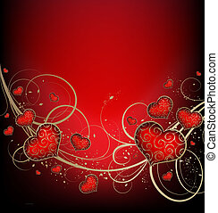Valentines vector background with hearts and golden ornate