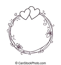 Valentine's day frame. Wedding vector background with two hearts