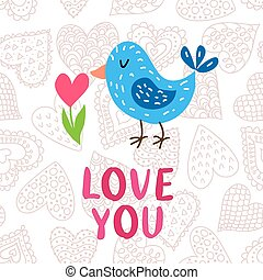 Valentine's day greeting card with bird