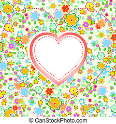 Valentines Day Heart with Flower background, vector
