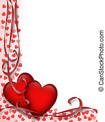 Illustrated red hearts and ribbons for Valentine card, border, frame or background with copy space.