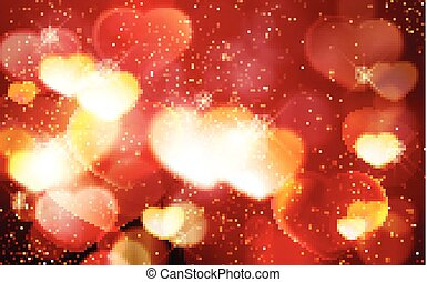 Valentine's day, romantic red bokeh background with glowing hearts