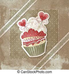 Valentine's vintage cupcake