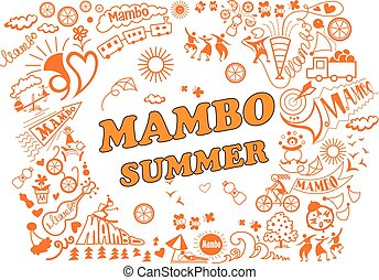 Various attributes of summer holidays in the mambo style.