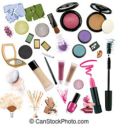 Various cosmetics isolated on white background