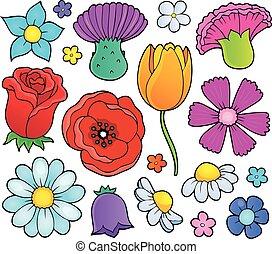 Various flower heads theme set 1