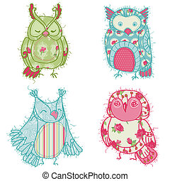 Various Owl Scrapbook Collection - for your design, scrapbooking, cards in vector