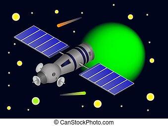 Vector 3d illustrations spaceship or satellite