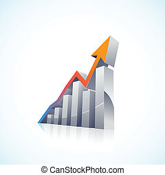 vector 3d Stock Market Bar Graph with colorful growth arrow