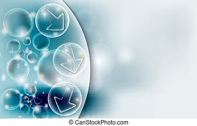 vector abstract background with bubbles and transparent pointers