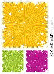 Vector abstract background with rays & stars