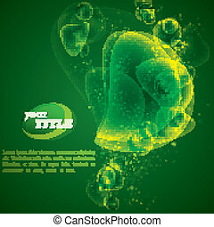 vector abstract green background with shiny bubbles