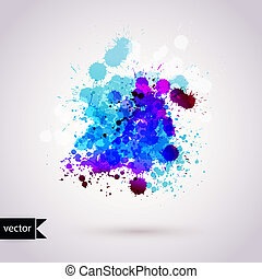 Vector abstract hand drawn watercolor background, vector illustration, stain watercolors colors wet on wet paper. Watercolor composition for scrapbook elements.
