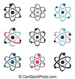 Vector atom sign logo icons collection