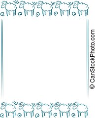 Vector background with a blue doodle sheep frame