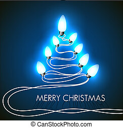 Vector background with christmas tree and lights