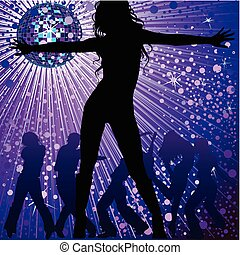 Vector background with people dancing in night-club, disco-ball and glitters