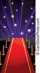 Vector background with red carpet and stars