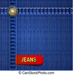 vector background with red denim label stitching and rivets
