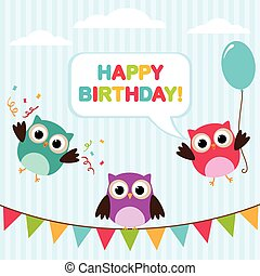 Vector birthday card with owls