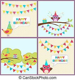 Vector birthday cards with birds