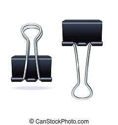 Vector illustration black binder clip set isolated on white background