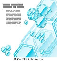 Vector blue geometric hexagon background