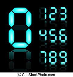 vector blue glowing digital numbers