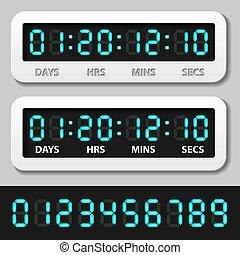 vector blue glowing digital numbers - countdown timer