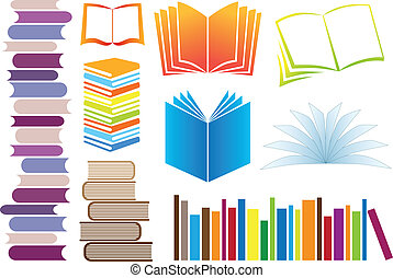 set of colorful books, vector illustration