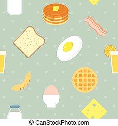 Vector breakfast pattern, seamless