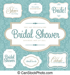 Vector Bridal Shower Frame Set. Easy to edit. Perfect for invitations or announcements.