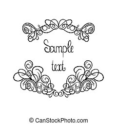 Vector calligraphic design elements, page decoration with place for text.