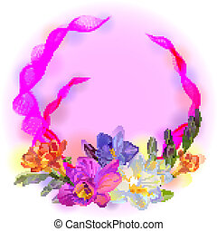 Vector card with freesia flowers