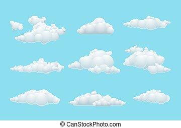 Vector cartoon cloud set