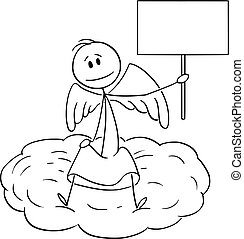 Vector Cartoon Illustration of Angel Sitting on Cloud and Holding Empty Sign